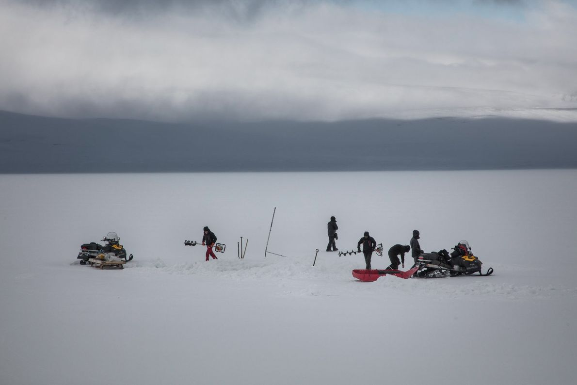 The group of scientists chooses the site of their exploration and begins to dig.