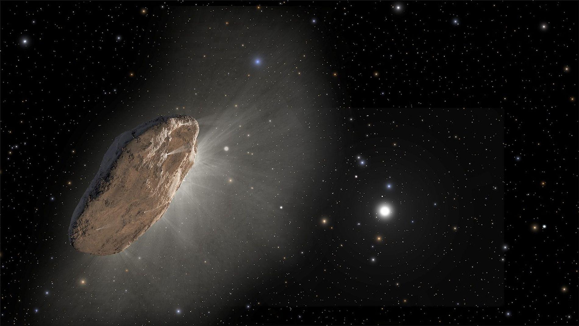Ilustração demonstra o 'Oumuamua, o primeiro visitante interestelar a ser detectado. Em 30 de agosto, um ...