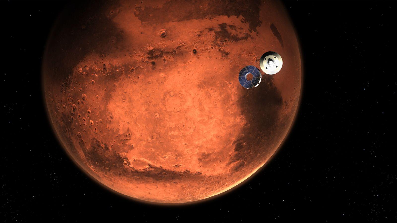 Esta ilustração mostra a sonda Perseverance, da Nasa, soltando-se do estágio de cruzeiro a minutos de ...