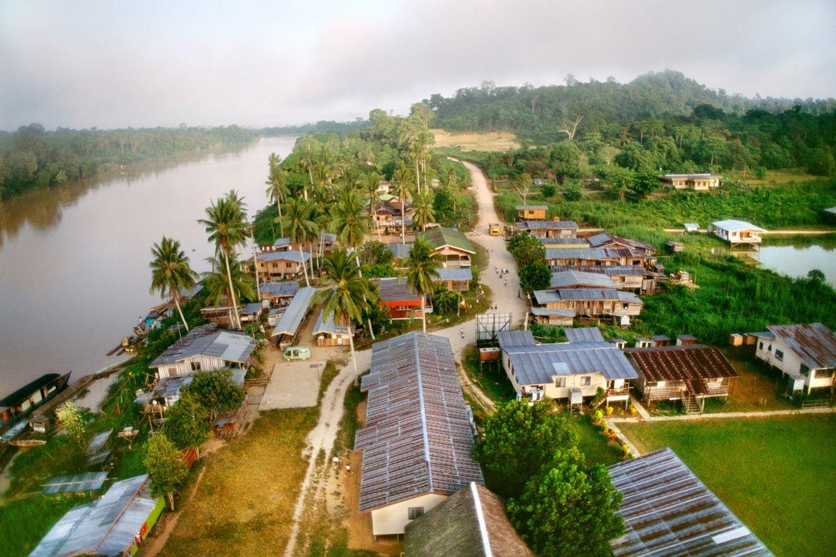 Uma cidade madeireira fica ao lado do rio Kinabatangan, em Sabah, em Bornéu. No total, a …