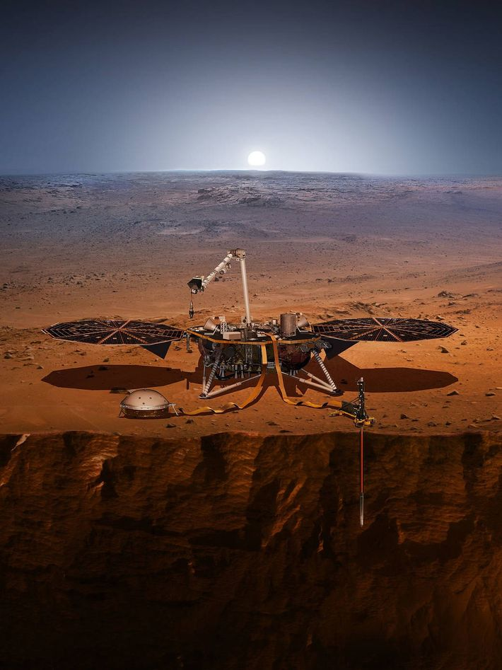 O módulo espacial InSight na superfície de Marte na ilustração, mostrando seu sismógrafo e a sonda ...