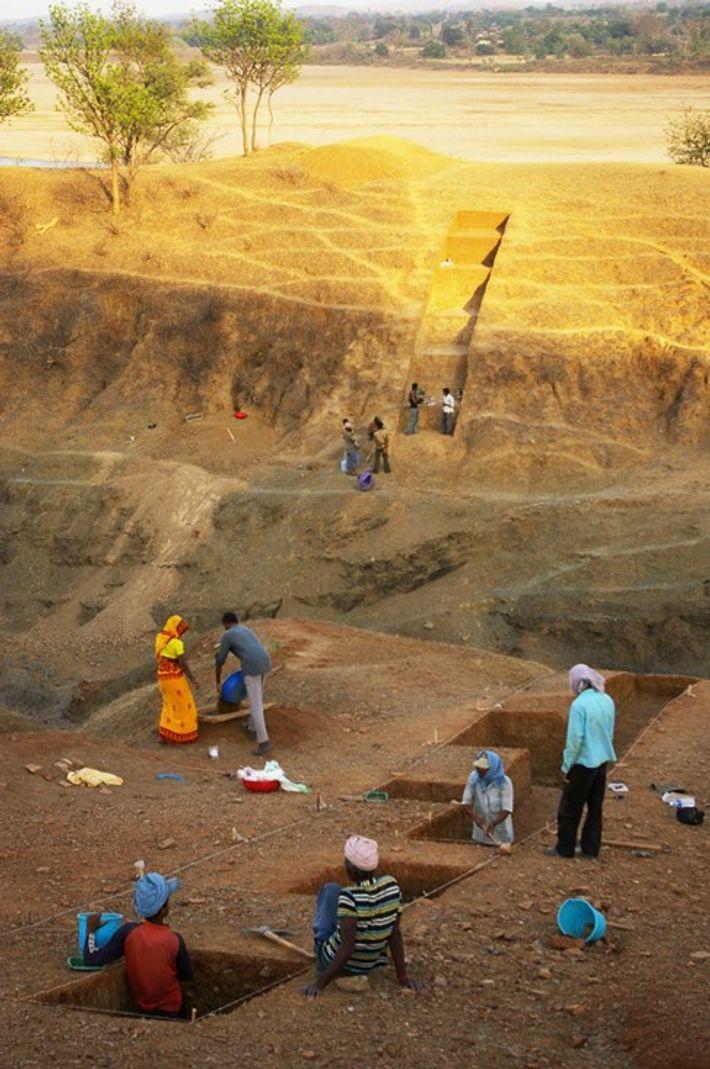 Escavações em Dhaba, Madhya Pradesh, Índia central.