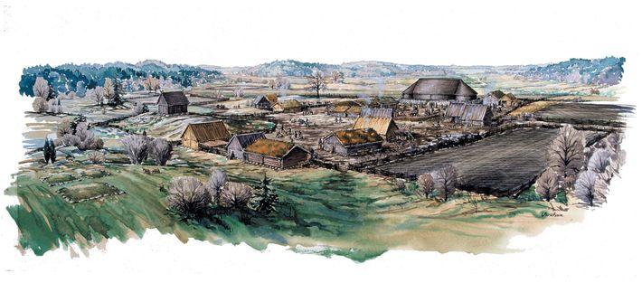 Pequenas casas cercam um grande salão em um sítio viking na Suécia chamado Sanda. Alguns arqueólogos ...