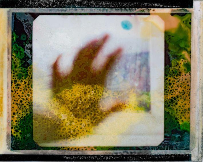 Após um mês em quarentena, Muirhead fotografou sua mão em direção à janela em um dia ...