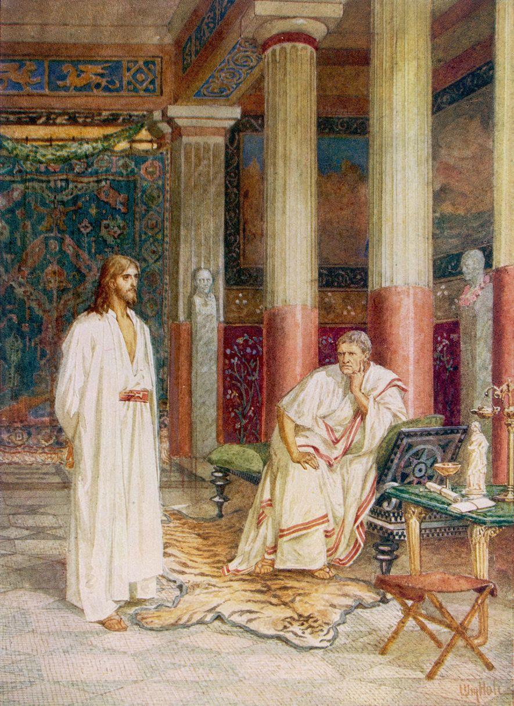 O governador romano Pôncio Pilatos interrogou Jesus e ordenou sua execução, de acordo com os evangelhos ...