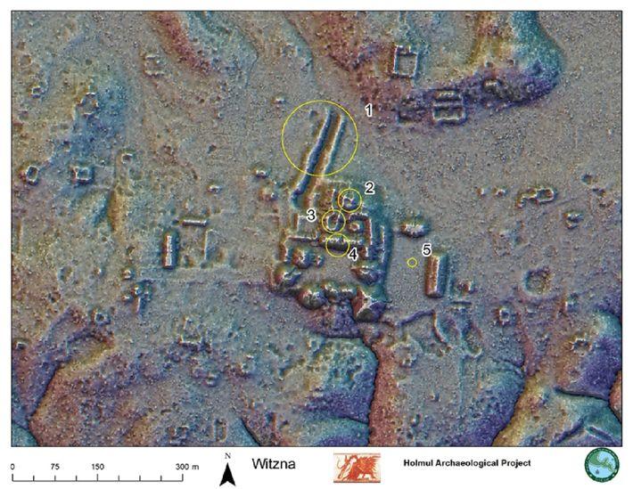 Um mapa obtido com a tecnologia LiDAR mostra o centro cerimonial da antiga cidade maia de ...