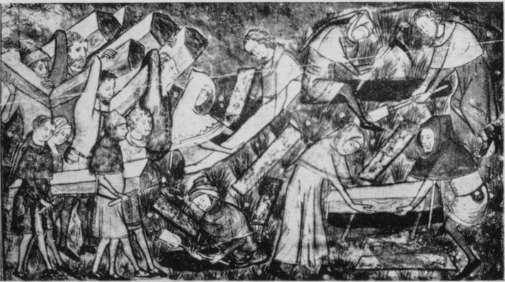 Uma ilustração do século 14 retrata o enterro de vítimas da peste bubônica. Existem contos alemães ...