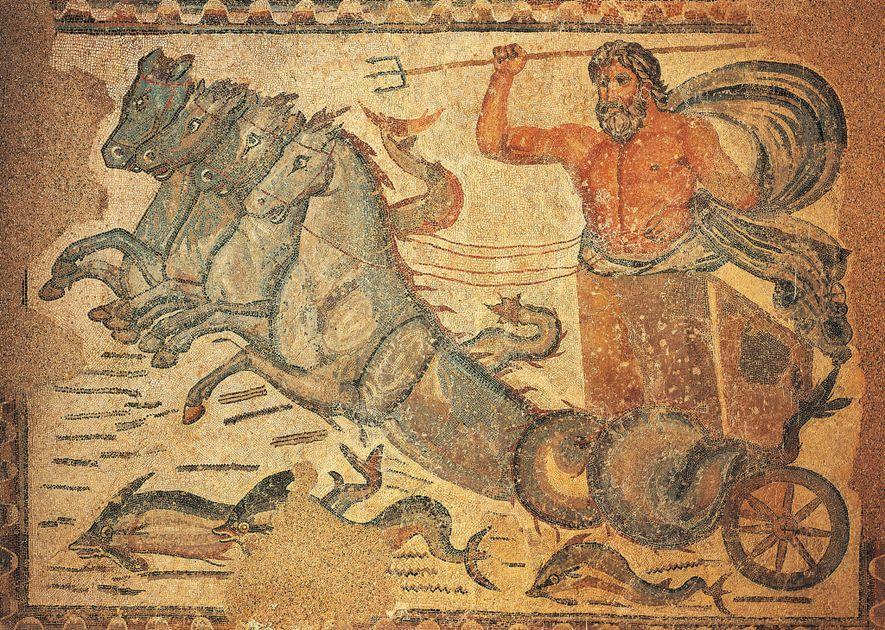 Este mosaico do século 4, que retrata o deus romano dos mares, Netuno, em uma carruagem ...