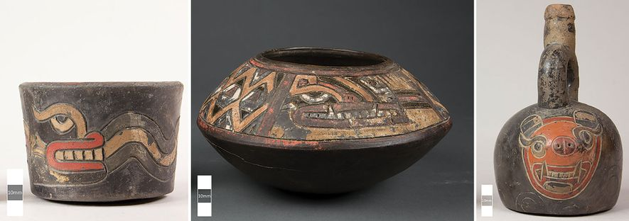Embora as cerâmicas Paracas pudessem apresentar até 15 cores diferentes, a maioria possui uma combinação de ...