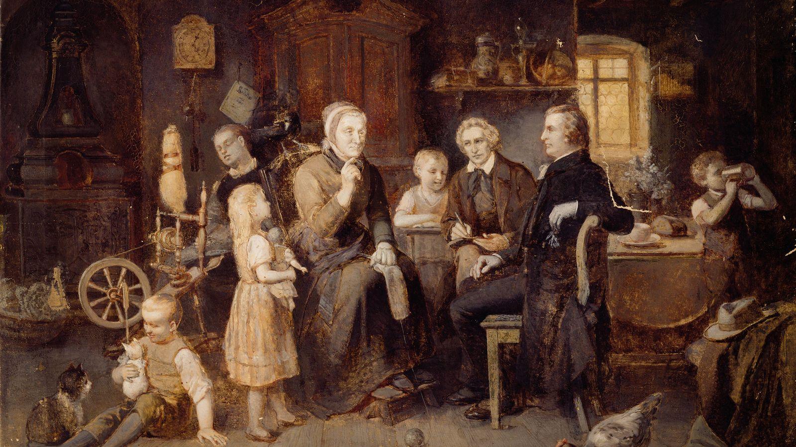 Dorothea Viehmann compartilha suas histórias com os Grimms. Pintura a óleo do século 19, de Louis ...