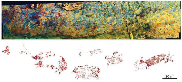 O painel de arte rupestre se estende por quase 2,5 metros pela parede dos fundos de ...
