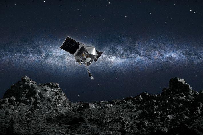 Ilustração do veículo espacial OSIRIS-REx da Nasa prestes a coletar uma amostra do asteroide Bennu.