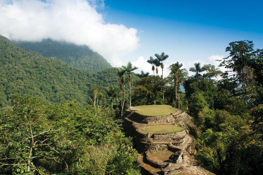 O terraço central de Teyuna, na mata da Serra Nevada de Santa Marta, na Colômbia, é ...