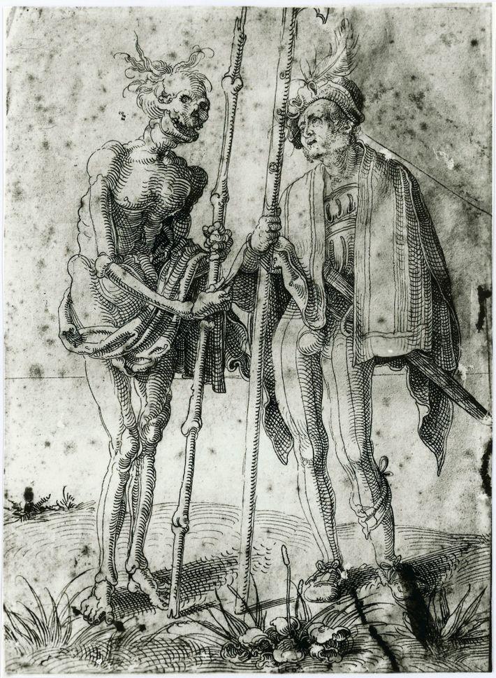 Gravura de Hans Baldung Grien feita no século 16 mostra um mercenário alemão conversando com a ...
