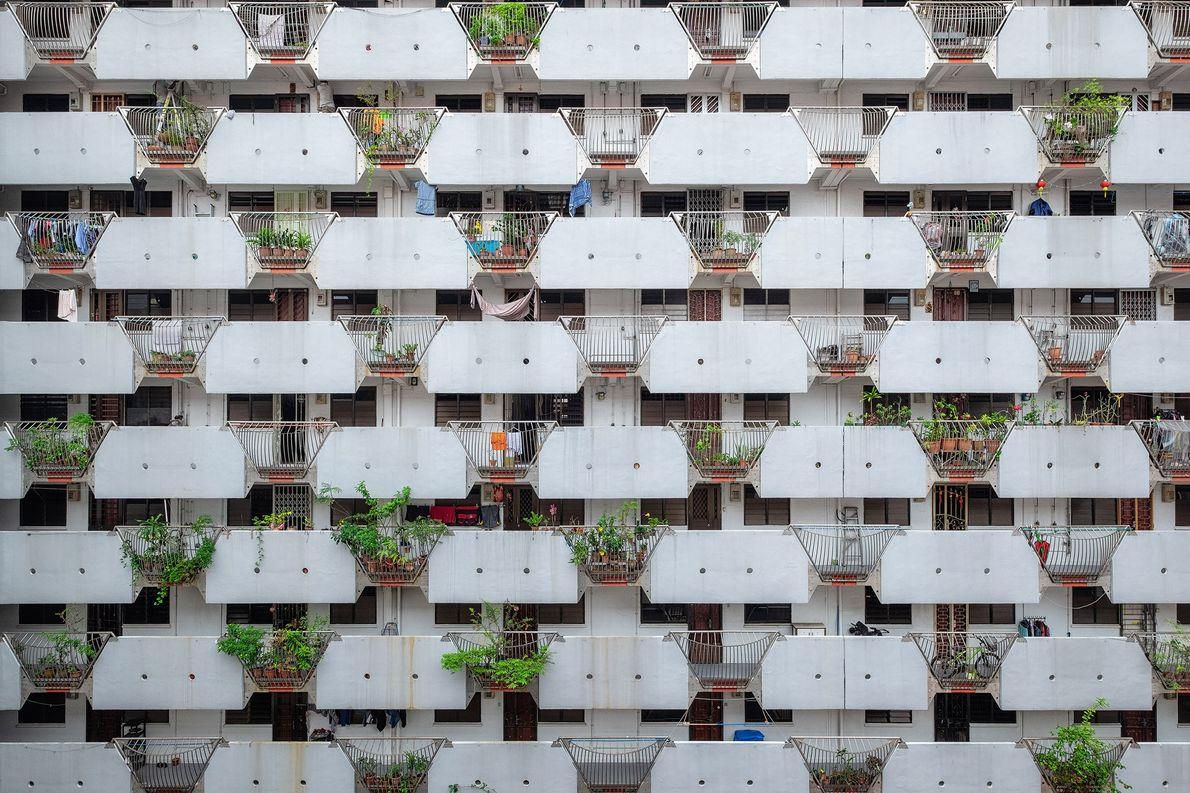 SINGAPURA  Essa visão de um prédio de apartamentos em Singapura mostra um pouco da vida de …
