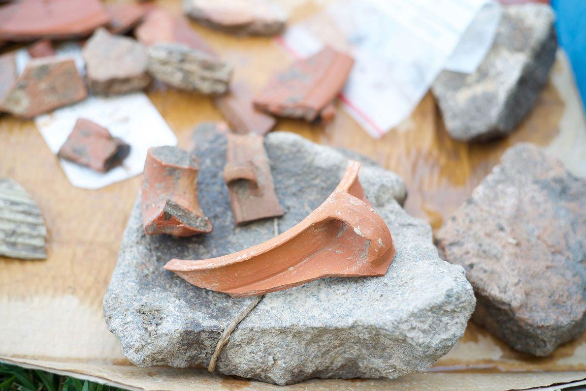 Restos de uma cerâmica do período romano encontrados em el-Araj.