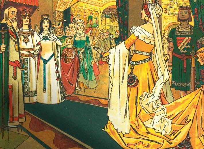A Rainha Má é uma convidada do casamento da Branca de Neve, como mostra uma ilustração ...