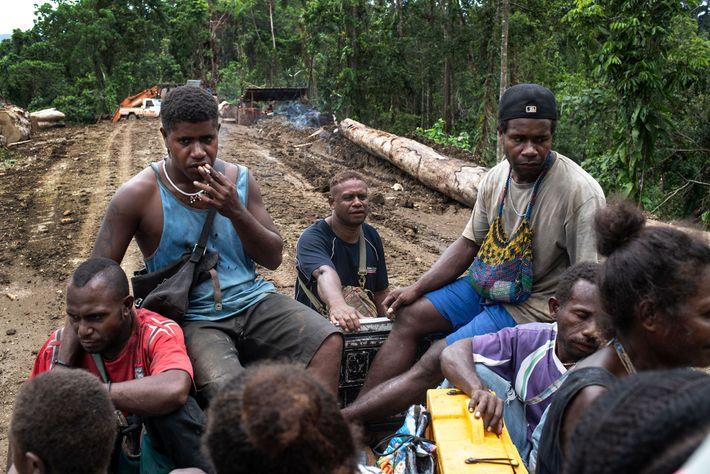 Moradores locais que trabalham para outra empresa madeireira que não a Gallego são levados pela montanha ...