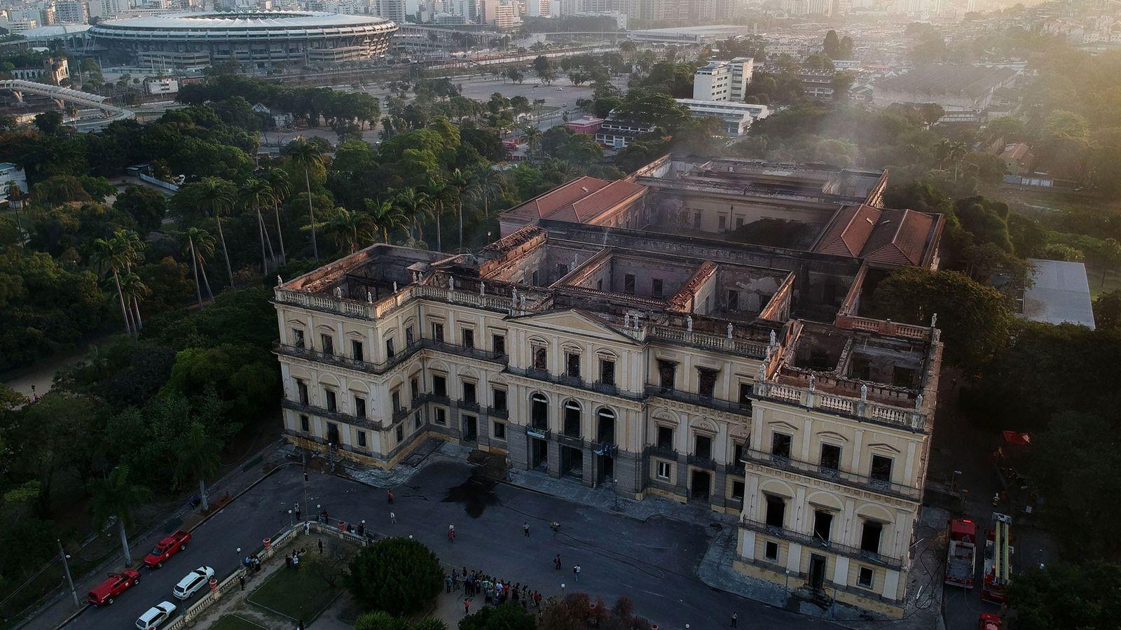 Imagem de drone mostra o miolo destruído do museu em 3 de setembro de 2018, um ...