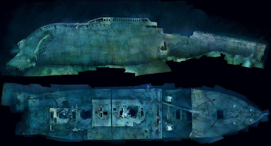 Imagens etéreas da proa do Titanic (ilustrada à direita) oferecem uma profusão de detalhes. Cada um ...