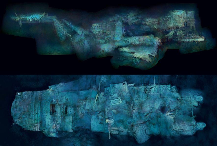 A popa do Titanic, vislumbrada aqui de perfil (no alto) e do alto, mostra os sinais ...