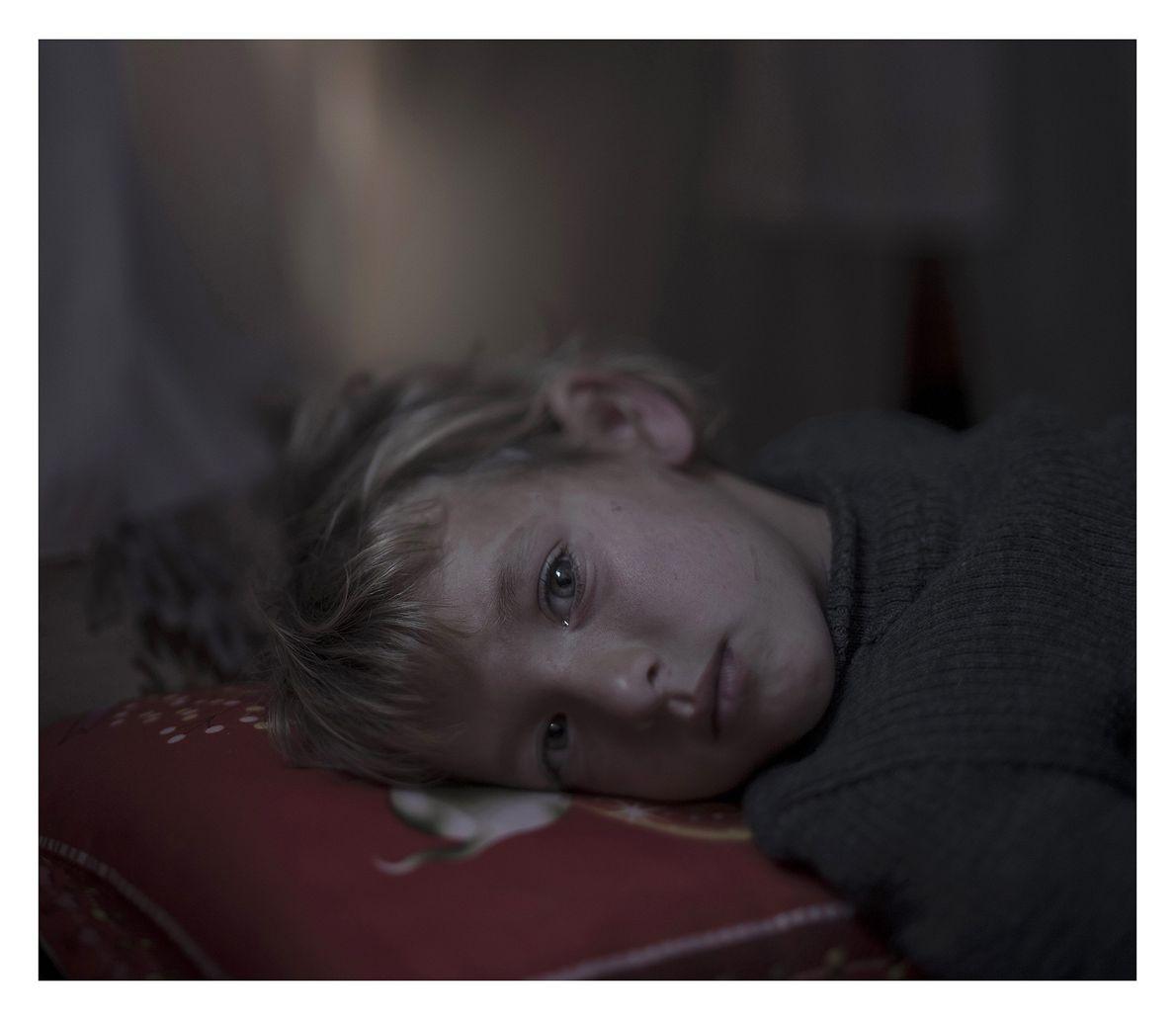 Retrato de criança refugiada