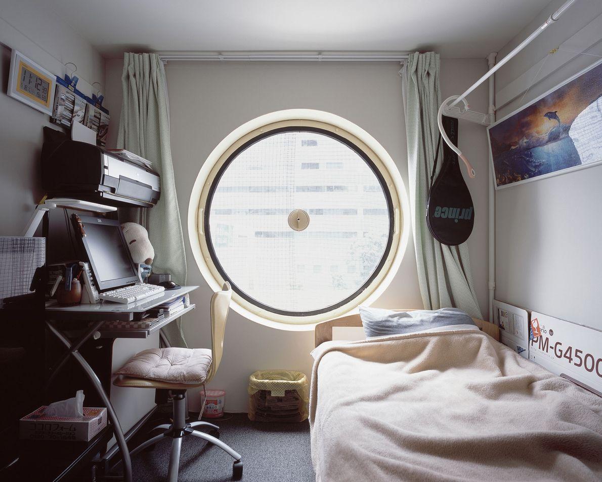 O espaço limitado dentro de cada cápsula (32 m2) é um desafio para o proprietário em ...
