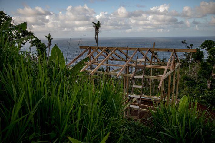 Oito meses após o Maria atingir Dominica, uma casa está sendo construída no território Kalinago, onde ...