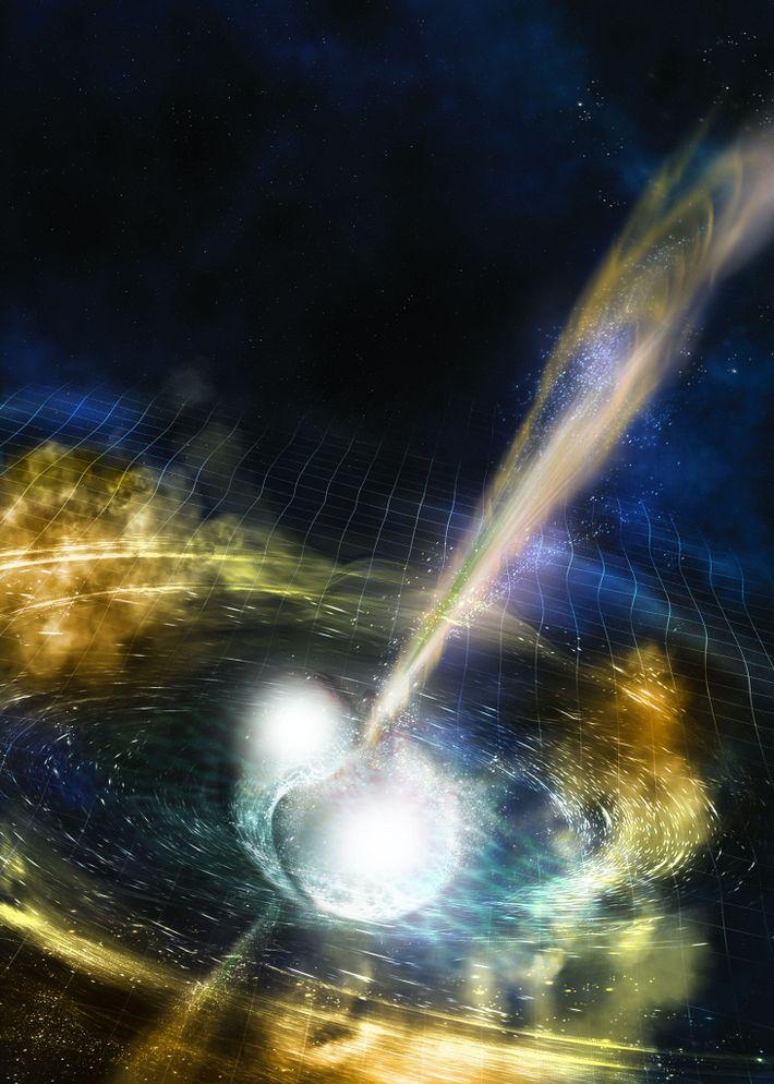 ilustração de fusão de estrelas de nêutron