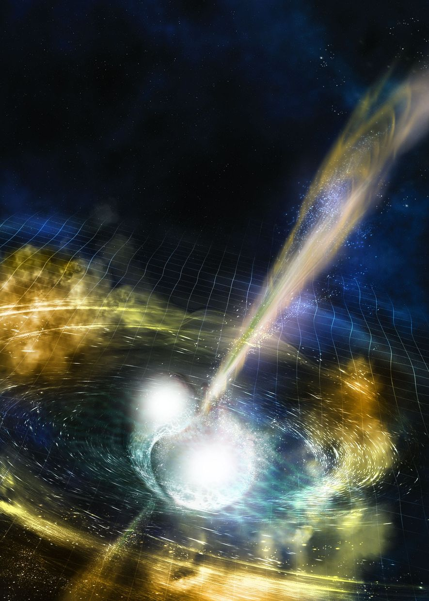 O tecido do espaço-tempo se distorce quando duas estrelas de nêutrons se espiralam em direção à ...