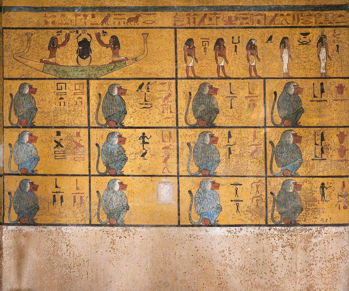 """A parede oeste da câmara funerária retrata um trecho do Livro de Amduat ou """"O que ..."""