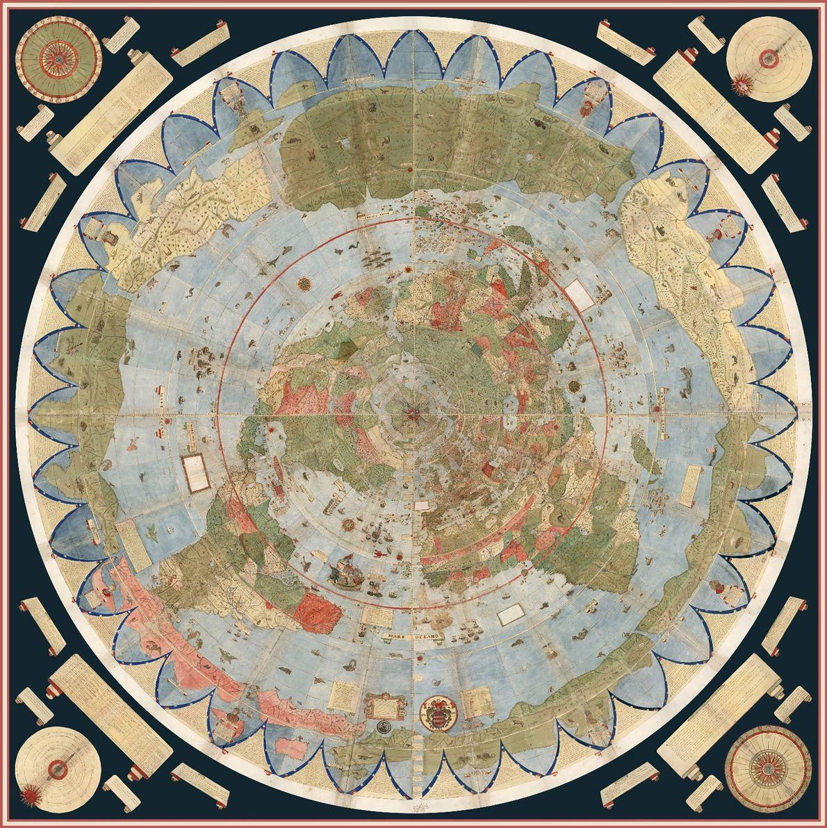 Grande e bizarro! Mapa do mundo feito no século 16 é montado pela primeira vez
