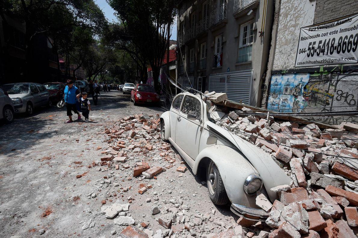 carro destruído terremoto méxico