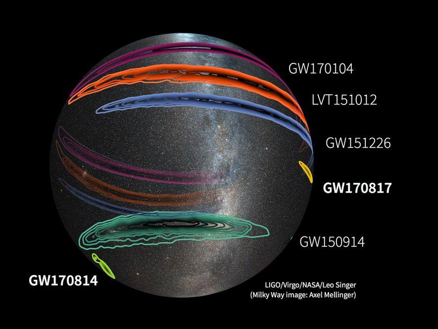 Um mapa de todo o céu mostra as detecções confirmadas de ondas gravitacionais até à data ...