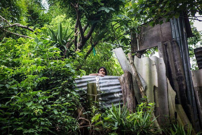 Uma mulher olha por cima do muro improvisado do lado de fora de sua casa, no ...