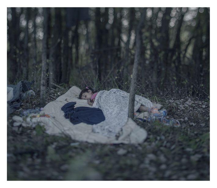 Crianças refugiadas dormindo em uma mata
