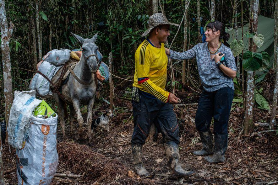 Uma mula chega ao acampamento com o equipamento para a expedição.