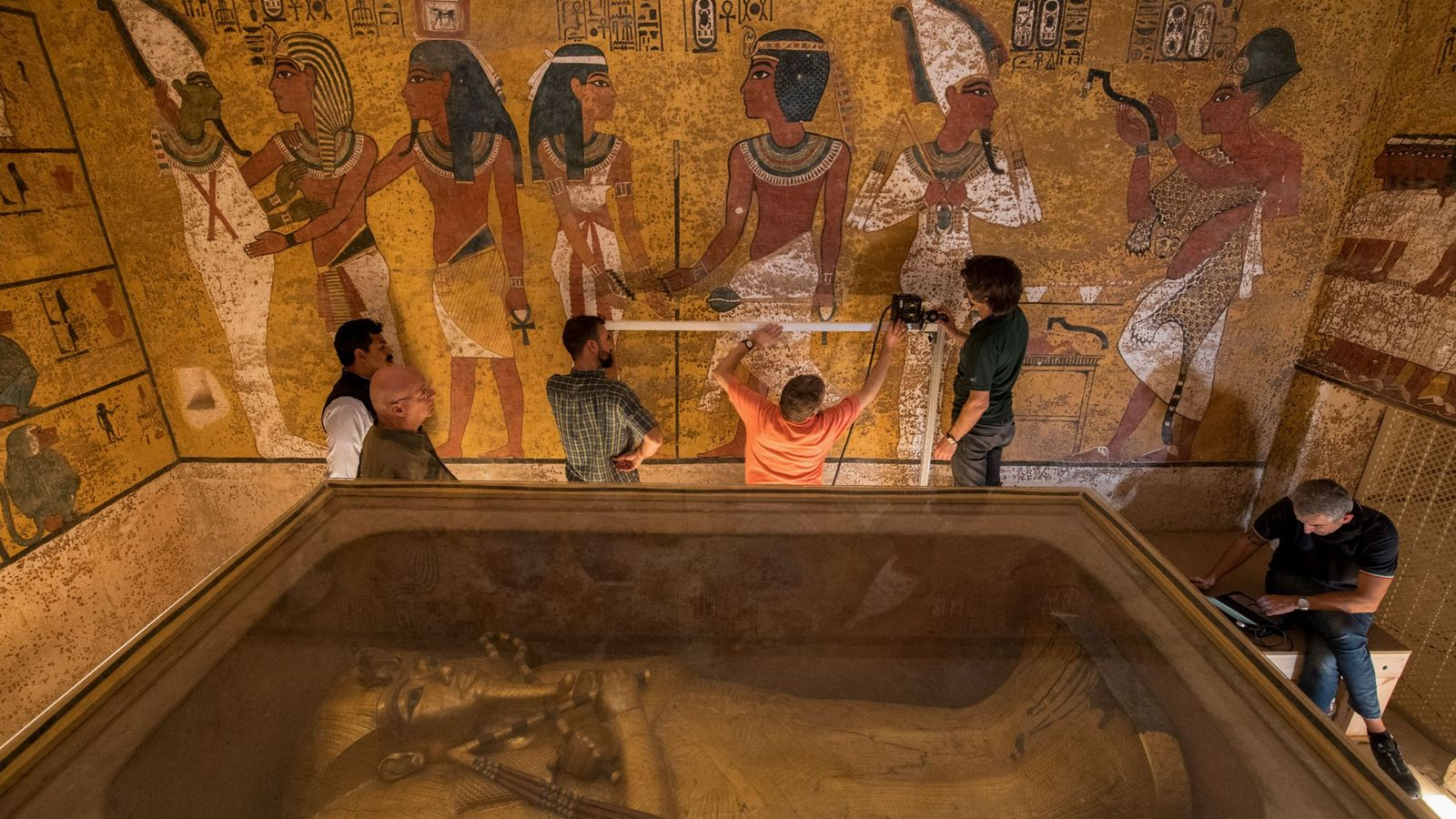 King Tut's sarcophagus is seen in his tomb while engineers conduct a GPR scan of the ...