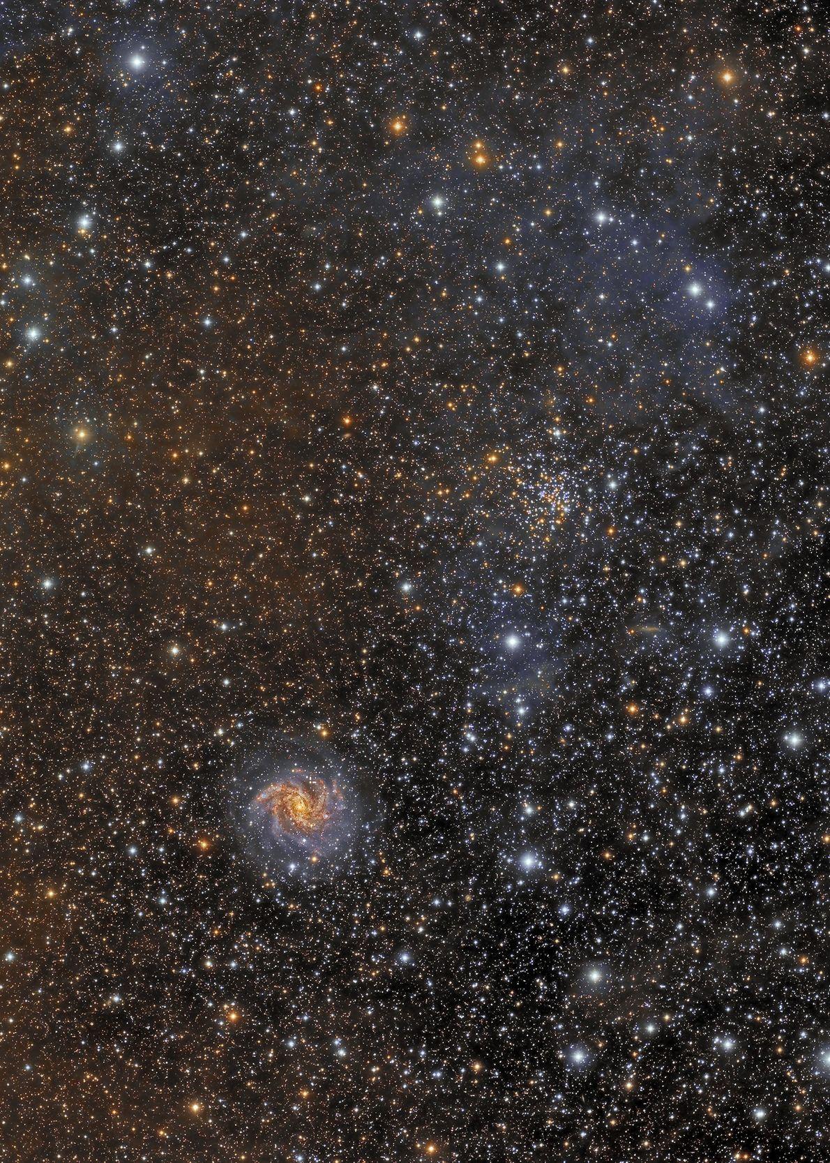 Exibição da diversidade de objetos visíveis no céu escuro, esta imagem mostra o aglomerado estelar aberto ...