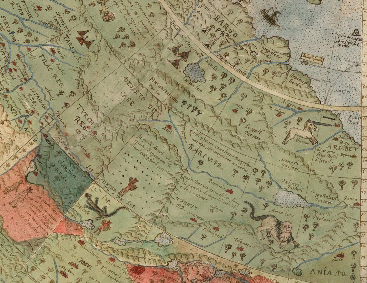 animais míticos retratados em mapa do século 16