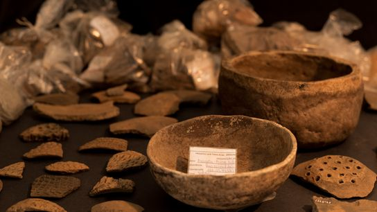 Cerâmicas coletadas em caverna no sítio arqueológico da Fazenda Ponta do Paranaíta, na região da Usina ...
