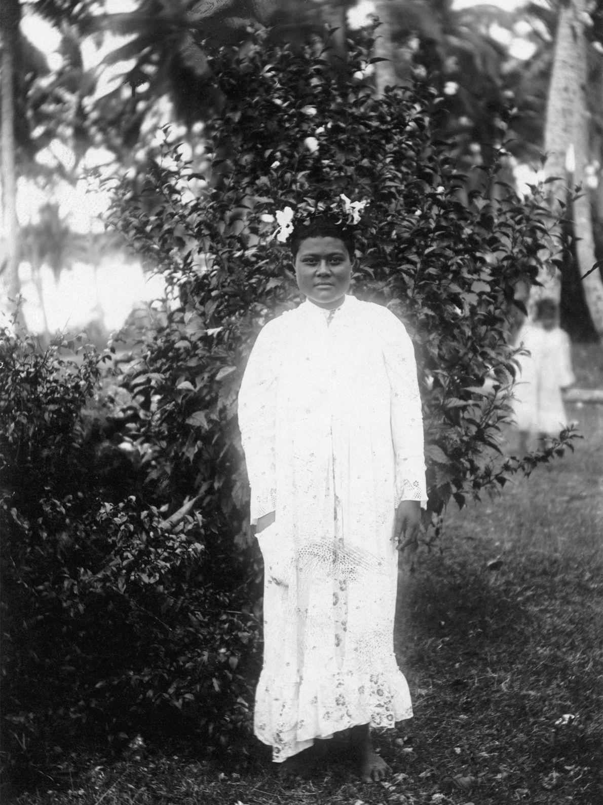 Este retrato informal da princesa de Tonga foi tirado na Ilha de Niue no início do ...