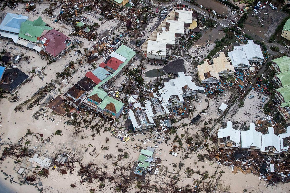 Destruição do furacão Irma em St. Martin em 6 de setembro.