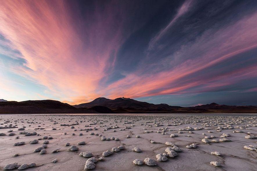 Laguna Tuyajto no região do Deserto do Atacama, CHile.