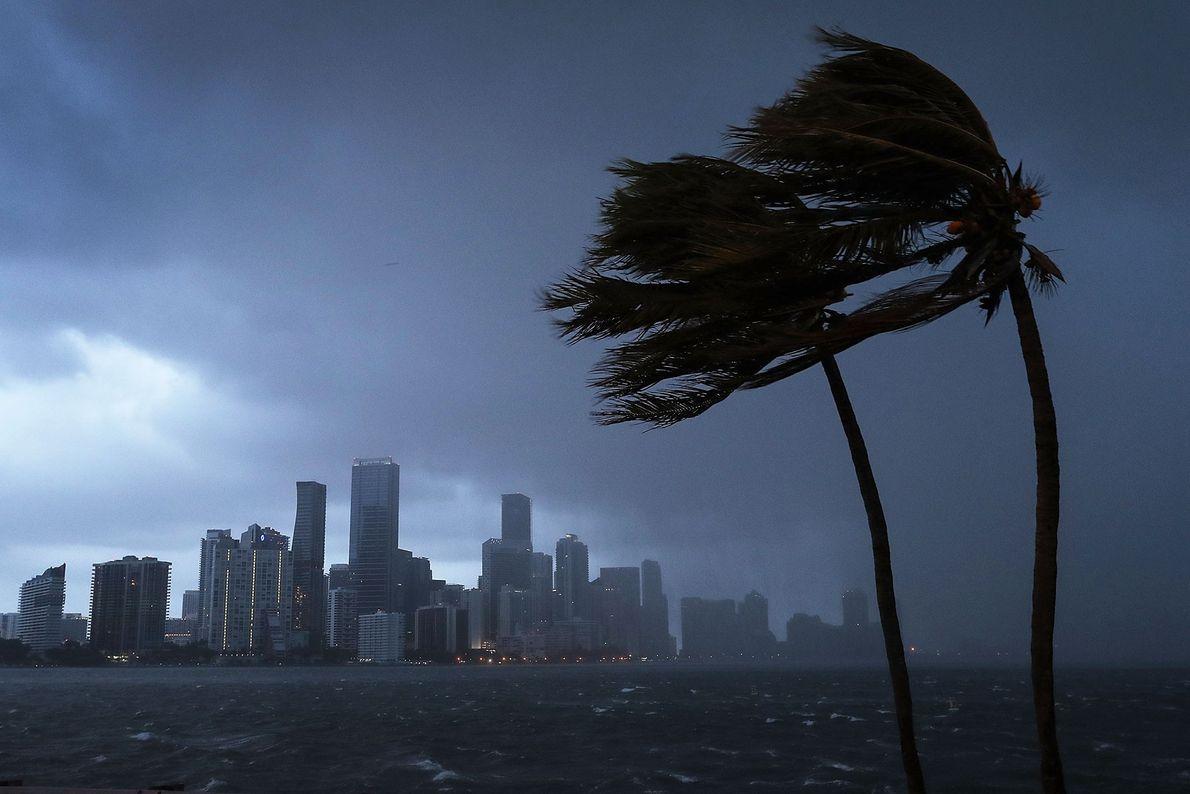 O horizonte de Miami e o furacão Irma, que começa a chegar à Flórida em 9 ...