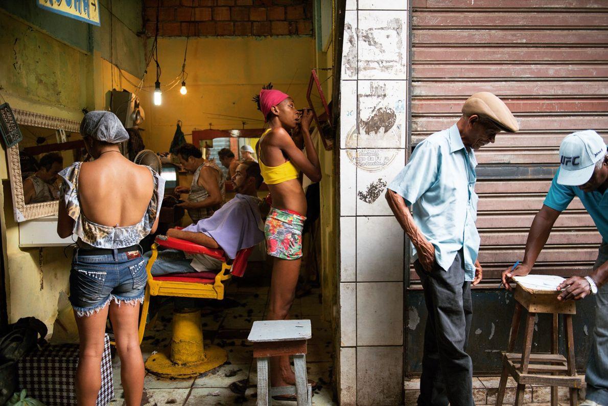 Barbearia na feira de São Joaquim