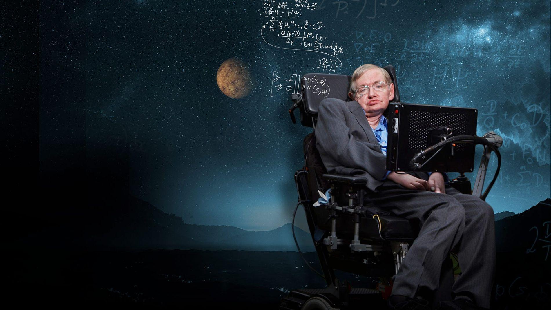 """O físico em pôster da série """"Ciência de Tudo com Stephen Hawking"""", exibida pelo canal National Geographic."""