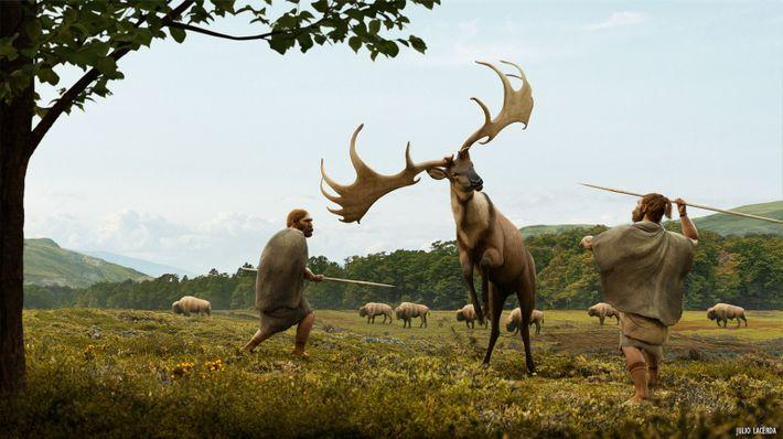 Reconstituição artística da caça do Megaloceros giganteus. Esses alces-gigantes, que alcançavam 2,13 metros na altura dos ...
