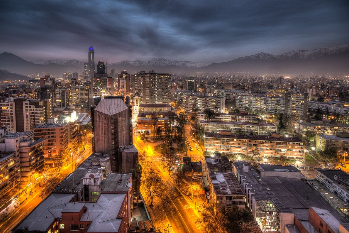 Panorama da cidade de Santiago, no Chile.