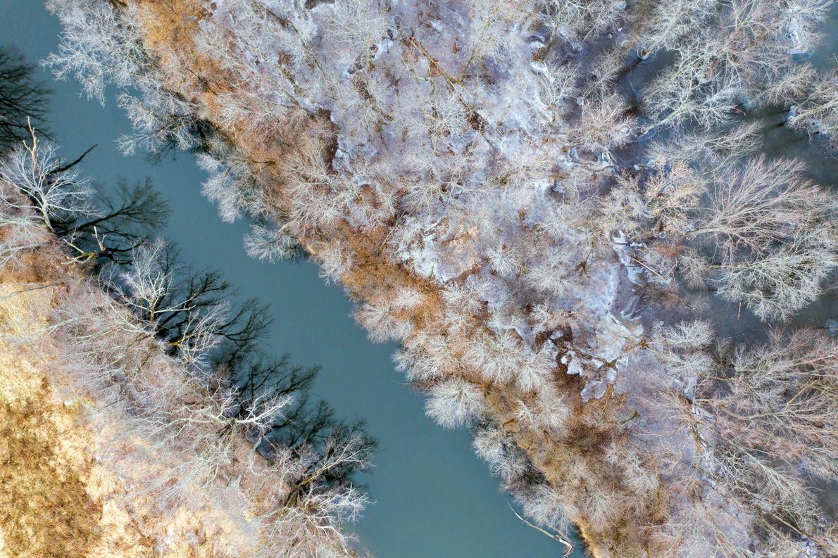 """""""A neve forma uma paleta de cores em constante mudança nas fotos tiradas do alto"""", conta ..."""
